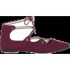Burgundy Lace Up Primark Flats - Mokasyny -