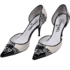 CHANEL BLACK AND IVORY WOVEN D'ORSAY POI - Klasyczne buty -
