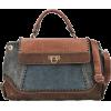 CHLORIS Blue Patchwork Suede Faux Crocodile Print Top Handle Doctor-style Tote Hobo Satchel Handbag Purse Shoulder Bag - Hand bag - $27.50