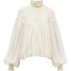 CHLOÉ  Ruffled neck silk-georgette blous - 长袖衫/女式衬衫 -