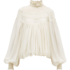 CHLOÉ  Ruffled neck silk-georgette blous - 長袖シャツ・ブラウス -