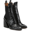 CHLOÉ Wave embossed leather ankle boots - Buty wysokie -
