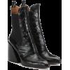 CHLOÉ Wave embossed leather ankle boots - Škornji -