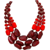 CHUNKY LAYERED RED STATEMENT NECKLACE - Necklaces - $23.00