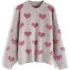 CONTRAST COLOR FUZZY HEARTS KNIT SWEATER - Pullovers -