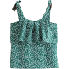 Cake layer green printed camisole - Рубашки - короткие - $25.99  ~ 22.32€