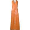 Carmel Colored Faux Leather Jumpsuit - Other -