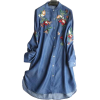 Casual Colored Flower Embroidery Denim - Dresses -