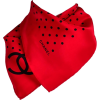 Chanel Scarf in Red & Black Dots - Scarf -