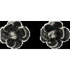 Chanel flower black earrings - Brincos -