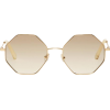 Chloé Gold & Off-White Hexagon Glasses - Sunglasses -