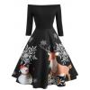 Christmas Elk Print A Line Dress - sukienki -