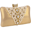 Classic Pearl Beads Brooches Rhinestone Encrusted Latch Hard Case Clutch Baguette Evening Bag Handbag Purse w/2 Chain Straps Gold - Clutch bags - $35.50