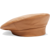 Clyde camel tan leather beret hat  - Hat -
