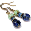 Cobalt Sapphire Blue Glass Bead Earrings - Earrings - $15.75