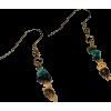 Coconut Shell Real Turquoise Earrings - Earrings - $11.50
