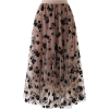 Coffee floral mesh tulle skirt - Skirts -