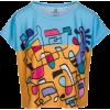 Colorful Abstract Hand Drawn Print Boxy - T-shirts - $46.00