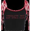 Contrast letter embroidery strap vest - Vests - $15.99