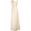 Cowl-Back Satin Long Gown with Crystal Pin Junior Plus Size Ivory - Dresses - $89.99