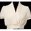 Cream Crop Blouse - 半袖シャツ・ブラウス -