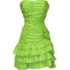 Crinkle Satin Strapless Ruffle Mini Dress Prom Formal Bridesmaid Lime - Dresses - $69.99