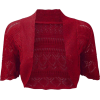 Crochet Knitted Bolero Shrug In Red, Cer - Bolero -