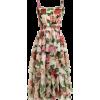 DOLCE & GABBANA  Rose-print tiered silk- - Kleider -