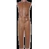 Dark Carmel Faux Leather Jumpsuit - Other -