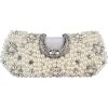 Dazzling Pearl Beads Rhinestone Encrusted Closure Rectangle Hard Case Baguette Clutch Evening Bag Handbag Purse w/2 Chain Straps Black - バッグ クラッチバッグ - $39.50  ~ ¥4,446