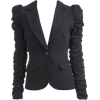Black Ruffled Sleeve Blazer - Sakkos -
