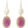 Diamond, ruby, pearl & 18kt gold earring - Earrings -