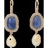 Diamond, tanzanite & 18kt gold earrings - Earrings -
