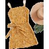 Ditsy Print Open Back Wrap Hem Cami Dres - Dresses -
