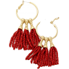 Drop Bead Tassle Hoop Earrings - Earrings - $21.00  ~ £15.96