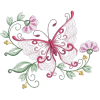 Embroidered Butterfly Floral Cluster - Illustrations -