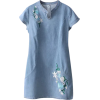 Embroidered Floral Denim Dress - Vestidos -