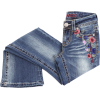 Embroidered Folded Jeans - Traperice -