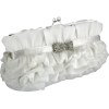 Empress Princess Ruffle Rhinestone Bow Tie Clasp Clutch Baguette Handbag Evening Bag Purse w/2 Detachable Chains White - Torby z klamrą - $25.50  ~ 21.90€