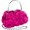 Enormous Rosette Roses Framed Clasp Evening Handbag Clutch Purse Convertible Bag w/Hidden Handle, Shoulder Chain Fuchsia - Torby z klamrą - $39.99  ~ 34.35€