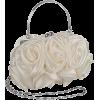 Enormous Rosette Roses Framed Clasp Evening Handbag Clutch Purse Convertible Bag w/Hidden Handle, Shoulder Chain White - Borse con fibbia - $29.99  ~ 25.76€