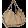 Everyday Top Double Adorned Leatherette-wrapped Chain Handle Shopper Hobo Satchel Tote Purse Handbag Shoulder Bag Taupe - Carteras - $37.50  ~ 32.21€
