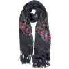 Exotic Chiffon / Velvet Butterfly Print Sequins Beaded Long Shawl Wrap Scarf - 6 color options Black - Scarf - $34.00