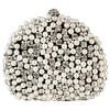 Exquisite Intricate Pearl Beads Rhinestone Encrusted Closure Half-moon Hard Case Clutch Baguette Evening Bag Handbag Purse w/2 Chain Straps Black - Clutch bags - $37.50