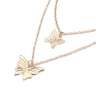 Exquisite Double Gold And Silver Butterfly Necklace Nhnz155498 - Necklaces -
