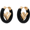 FENDI black F logo leather hoop earrings - Earrings -