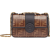 FENDI brown Double F logo print leather - Hand bag -