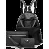 Faux Leather Backpack Set 3pcs - Backpacks -