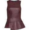 Faux Leather Peplum Top - Other -