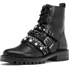 Flat biker ankle boots with faux pearls - Stiefel -